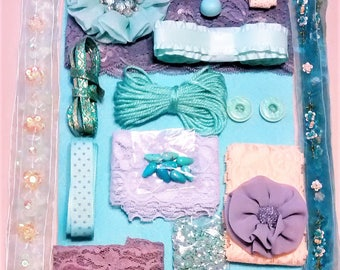 CP-103 A Crafting Pack of Wonder-full of Teal, Peach, Lavender, Elegant Lace, Ribbons with Sequins and Rhinestones, Beads, and Shiny Things