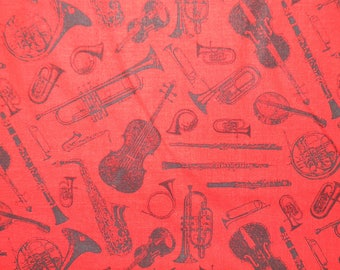 Musical Instruments on Cotton Fabric in Red and Black