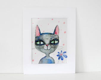Mr Cat -Large print of my Nursery painting, art,decoration,animal lovers,baby gift,toddler, cat lovers, wall art, gift for her, gift for him