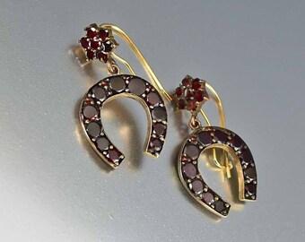 Antique Bohemian Garnet Earrings | Victorian Horseshoe Earrings | Antique 14K Gold Pierced Dangle Good Luck Equestrian Earrings