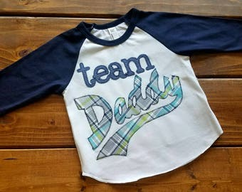 Fathers Day Shirt, I Love Daddy Shirt, Baby Boy Clothing, Team Daddy Shirt for Boys, Fathers Day Outfit, Baseball Shirt, Ready to Ship