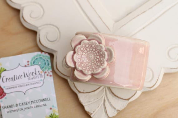 Pink vertical business card holder