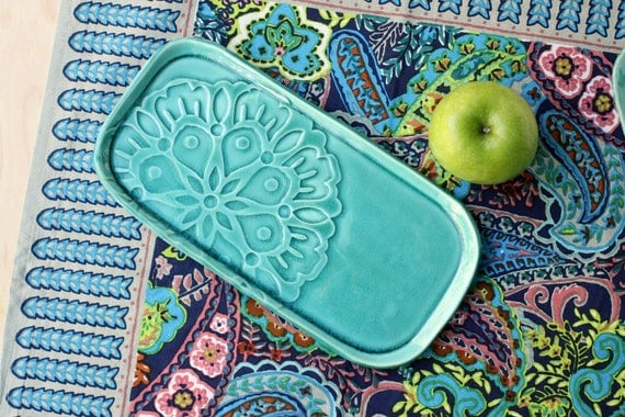 Flower Tray in teal