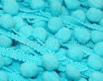 FINAL CLEARANCE SALE Pom Pom Trim in Turquoise-- 1 metre