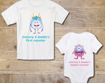Big Brother Little Sister Shirts, New Big Brother, Baby Shower Gift, Big Brother Baby Sister, New Big Brother, Monsters