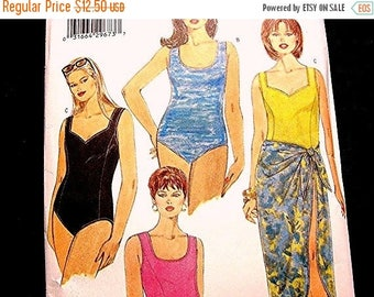 on SALE 25% Off Womens One Piece Swimsuit Pattern Plus Size 22 24 26 UNCUT Bathing Suit with Wrap Skirt Cover up Pattern