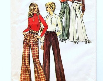on SALE 25% Off 1970s Straight or Wide Legged Pants Pattern size 12 Waist 26.5 High Waist Pants Pattern Vintage Sewing Pattern