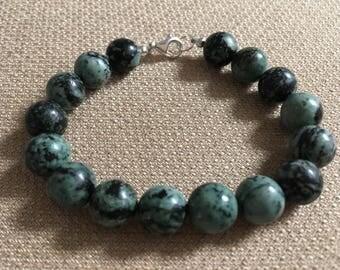 Jasper Bracelet, African Turquoise Bracelet, Semiprecious Gemstones Sterling Silver Blue Green Bracelet Beaded Bracelet