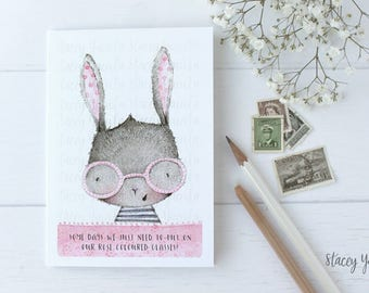 """greeting card - card - bunny - glasses - birthday - thank you - thinking of you - """"Rose Coloured Glasses!"""""""