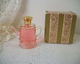 Vintage Avon Roses Roses Cologne with Original Pink and Gold Box Flower Fancy Watering Can Perfume Bottle Vintage 1979