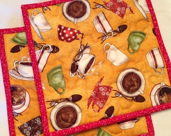 Quilted Coffee Cup Potholders Tea Cup Hot Pads