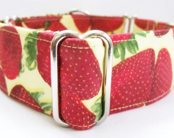 Strawberries on Yellow Greyhound, Whippet, Galgo, Pit Bull, Dog, Sighthound Martingale Collar