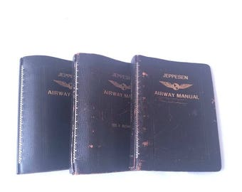 Vintage Jeppesen Leather Airway Manuals Empty Lot of 3 Flying Journal Steampunk Upcycle Planner Mantique