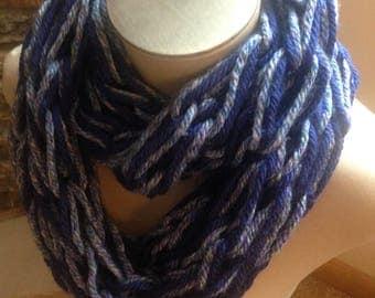 Arm Knit Infinity Scarf- Blue Blend
