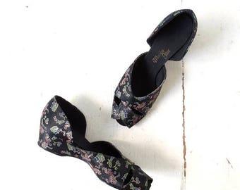 20% off sale Vintage 1940s Shoes | Boudoir Slippers | 40s Shoes | Size 8