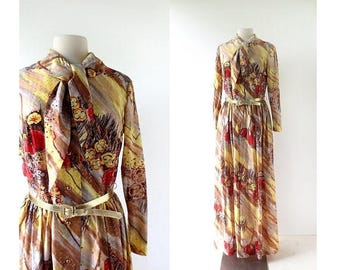 20% off sale 70s Maxi Dress | Flaming Poppy Dress | 1970s Dress | Medium M