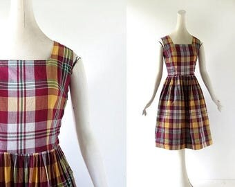 20% off sale Plaid 1950s Dress | Camp Narragansett | 50s Dress | XS