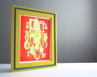 CAMEOS #012   comic silhouettes in fluorescent yellow and neon orange, a unique handpulled screenprint (8x10)