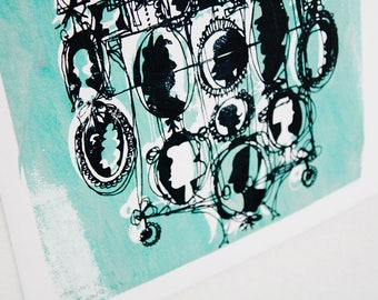 CAMEOS #105   cartoony-chic Victorian silhouettes in black and mint green one-of-a-kind screenprint (8x10)