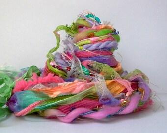 secret garden fringe effects™  21yd fiber art yarn bundle . pink green purple . sari silk merino wool dyed ribbons sequins sparkle yarn pack