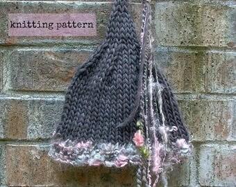 Faerie Hat pattern . instant download knitting pattern . pixie hat knitting pattern . PDF knit hat pattern . diy fairy stocking cap tutorial
