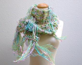 confetti. handknit ribbon scarf . shaggy fringed bohemian pastel scarf . knit art yarn scarf . aqua blue green pink
