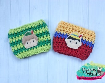 Coffee Cup Cozy { Peter Pan & Pinocchio }  neverland, tsum tsum inspired, park essential summer Coffee cozie, starbucks cup birthday