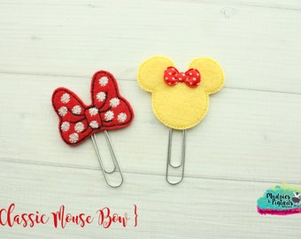 Mouse Ears Hair Clippies or Planner clips  { Classic Mouse }  Choose style, birthday, vacation bow Hair Clip, Barette, No Slip