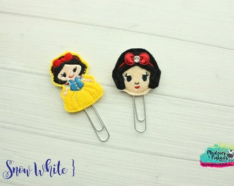 Mouse Ears Hair Clippies or Planner clips  { Snow White }  princess Choose style, birthday, vacation bow Hair Clip, Barette, No Slip