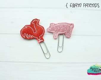 Planner Clip or Hair Clippies { Farm Friends } pig, rooster, animal Summer Paper Clips, Stationary, Birthday party favors, kikkik