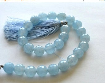 SALE Chalcedony Gemstone. Semi Precious Gemstone Bead. Faceted Round, Blue, Diamond Finish,  8mm. Select 1 to 8 Round Beads  (5ch).