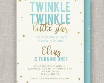 Twinkle Star Birthday Invitation