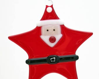 Glassworks Northwest - Star Santa - Fused Glass Ornament