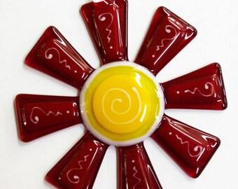 Glassworks Northwest - Brilliant Red and Red Flower Suncatcher - Fused Glass Suncatcher