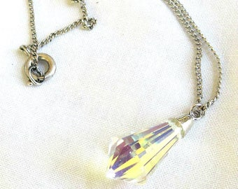 Vintage Clear Crystal Pendant Necklace and Chain