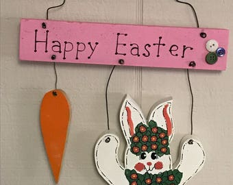 Happy Easter wall hsnging, Hanging Bunny with carrot, wood wall hanging, Easter bunny