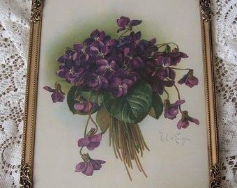Violets, Print,  Paul de Longpre, Art Print, Framed Art, Shabby Chic
