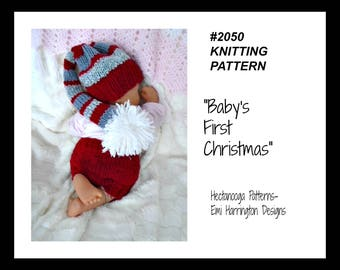 Baby Christmas Set, KNITTING PATTERN, hat and diaper cover pattern, newborn to 12 months, pattern #2050, Hectanooga Patterns, Emi Harrington