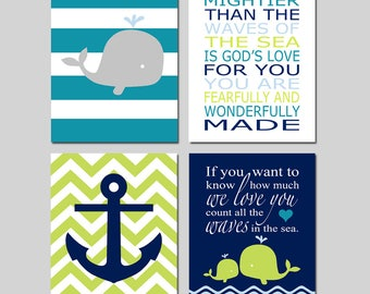 Whale Nursery Decor Whale Nursery Art Whale Nursery Sign Whale Nursery Art of 4 Prints Nautical Nursery Count The Waves Quote Bible Verse