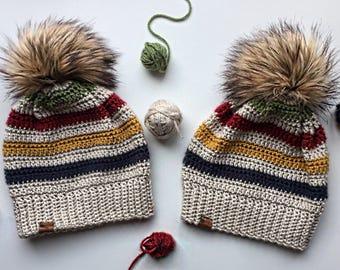 CROCHETED TODDLER HATS/hudson's bay colours/handmade hat