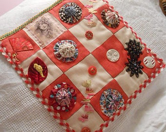 "RED & WHITE CHECKERBOARD Folk Art Fabric Collage Silk Gypsy Fairy Parrot Vintage Deco Yoyos Buttons Fan Butterfly Scrappy 11"" sq Wall Decor"