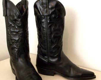 Black on black leather western fashion cowgirl boots Capezio brand