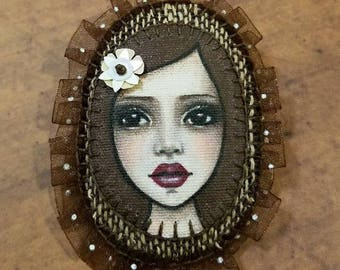 Original Portrait Painting Hand Stitched Brooch Pin by Lisa Lectura