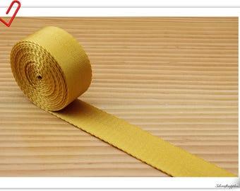 5 yards of 1 inch (25mm) Heavy weight Nylon webbing Golden yellow  ZA78