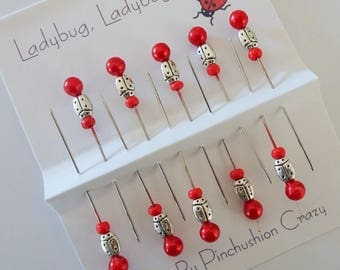 10 Ladybug Pins - Decorative Sewing Pins - Pincushion Pin - Scrapbook Pins - Cardmaking Pins - Invitations Pins - Tack Board - Sewing