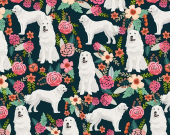 Great Pyrenees Dog Fabric - Cute Vintage Florals Fluffy White Dog By Petfriendly - Pyrenees Dog Cotton Fabric by the Yard with Spoonflower