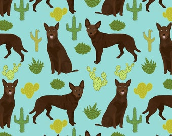 Australian Kelpie Fabric - Australian Kelpie Fabric Cute Cactus By Petfriendly - Outback Dog Cotton Fabric by the Yard with Spoonflower