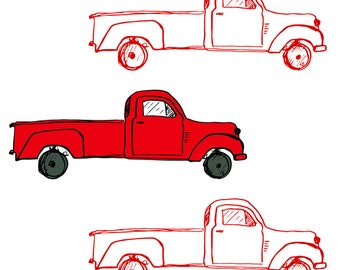 Retro Red Truck Fabric - Vintage Red Trucks By Shopcabin - Red Truck Nursery Decor Cotton Fabric By The Yard With Spoonflower