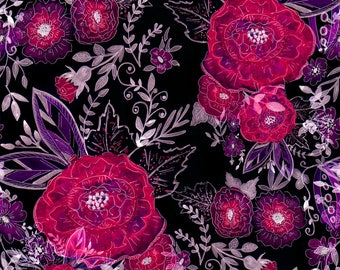 Moody Watercolor Floral Fabric - Watercolor Floral Pattern By Fuzzyfox - Black Watercolor Flower Cotton Fabric By The Yard With Spoonflower