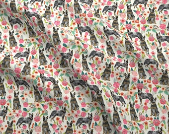 Heeler Dog Fabric - Australian Cattle Dog Florals Cream By Petfriendly - Blue Heeler Cattle Dog Cotton Fabric by the Yard with Spoonflower